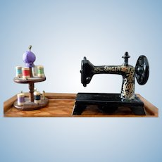 Artist Made Small Sewing Machine & Wooden Spool Holder Dollhouse Miniature