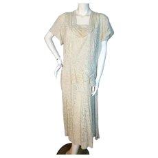 Vintage 1940s White Floral Dress Herbert Levy Bust 41