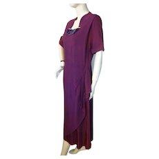 Vintage 1940s Purple Crepe Drape Dress Blakely Fashions Bust 38