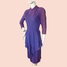 Vintage 1940s Purple Crepe Dress Bust 36
