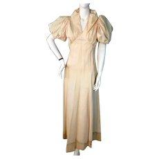 Vintage 1930s Cream Satin Evening Dress Bust 36