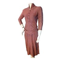Vintage 1940s Purple Drape Dress Bust 34
