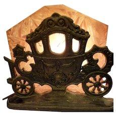 1920s Cinderella's Carriage SLAG GLASS Silhouette Lamp Art Deco