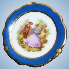 Vintage Porcelain Limoges France Display Plate & Stand 1:12 Dollhouse Miniature