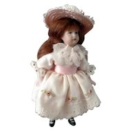 "LOVELY Vintage Erna Meyer Porcelain 4.5"" GIRL Victorian Dollhouse Doll"