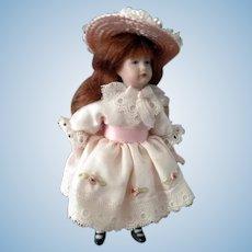 """LOVELY Vintage Erna Meyer Porcelain 4.5"""" GIRL Victorian Dollhouse Doll"""
