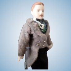 """LOVELY Vintage Victorian Bisque 6"""" MAN Dollhouse Doll"""