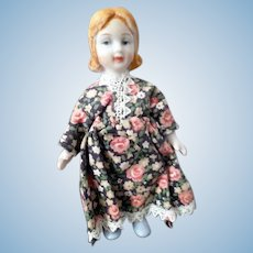 """LOVELY Vintage Bisque 4.5"""" GIRL Dollhouse Doll"""