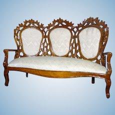 Vintage Wood & Silk Sofa Settee Bespaq 1:12 Dollhouse Miniature