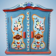 Vintage German Made Tole Painted CABINET Bauernmalerei 1:12 Dollhouse Miniature