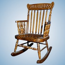 Vintage Artist Made ROCKING CHAIR 1:12 Dollhouse Miniature 1:12