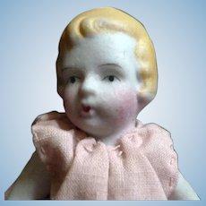 "Vintage 1930s 5"" Bisque GIRL Dollhouse Doll Japan"