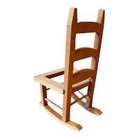 Vintage TYNIETOY Tynie Toy Ladder Back Rocking Chair 1:12 Dollhouse Miniature