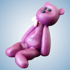Vintage Artist Made BEANIE BABY BEAR 1:12 Dollhouse Miniature