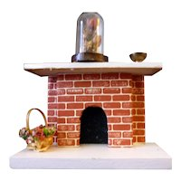 Vintage Artist Made FIREPLACE & ACCESSORIES 1/2 Scale 1:24 Dollhouse Miniature