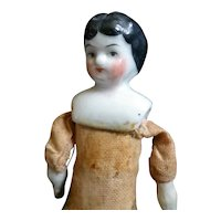 "Antique 1880s German China Head 6"" Woman Dollhouse Doll"