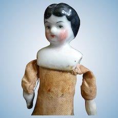 "Antique 1880s German China Head 6"" Woman Dollhouse Doll"