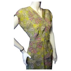 1940s Rayon or Silk Dress WOW! Bust 36