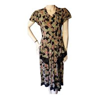 1940s Rayon Novelty Print Dress Birds Wishing Wells Bust 36