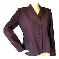 1940s Royal Purple Tailored Jacket With FLower Detail