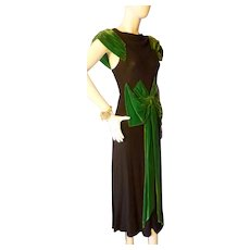 1940s Black Crepe & Green Velvet Evening Gown Bust 34