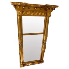 """Antique 19th Century Federal Gilt Mirror 21"""" x 37"""" With Shells Flowers"""