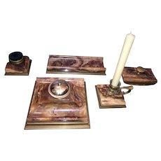 Antique 5 Piece Austrian Stone & Brass Desk Set