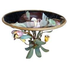 Small Hollywood Regency Italian TOLE FLOWER Side Table
