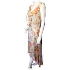 Vintage 1930s SILK DRESS with Asymetric HemBust 36