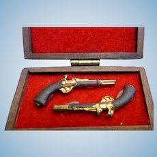 Vintage Artist Made DUELING PISTOLS Guns 1:12 Dollhouse Miniature