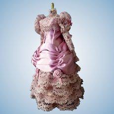 Vintage Artist Made Victorian Dress on DRESS FORM 1:12 Dollhouse Miniature
