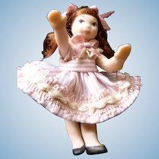 Vintage Artist Made 1:24 Scale GIRL DOLL Dollhouse Miniature