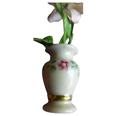 Artist Lynn McVay Rose Painted VASE 1:12 Dollhouse Miniature