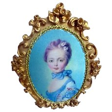 Vintage German Spielwaren Szalasi Rococo FRAMED PICTURE 1:12 Dollhouse Miniature