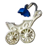 Vintage TINY DOLL CARRIAGE Painted Metal 1:12 Dollhouse Miniature