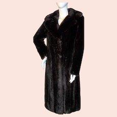 Beautiful Vintage Full Length MAHOGANY MINK COAT M-L
