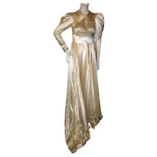 Vintage 1930s Moonlight Satin Wedding Gown With Train SMALL