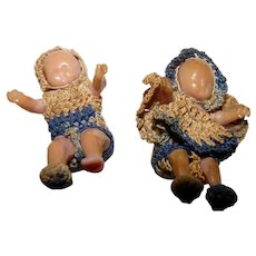 "Pair 1940s 1.25"" Dollhouse BABY DOLLS Reliable Doll Co. Canada"