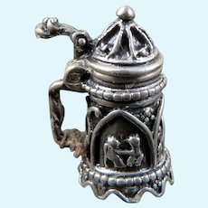 Artist Made BEER STEIN Sterling Silver 1:12 Dollhouse Miniature