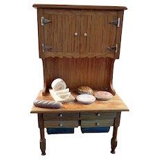 OOAK Vintage Artist KITCHEN HUTCH & Baked Goods 1:12 Dollhouse Miniature
