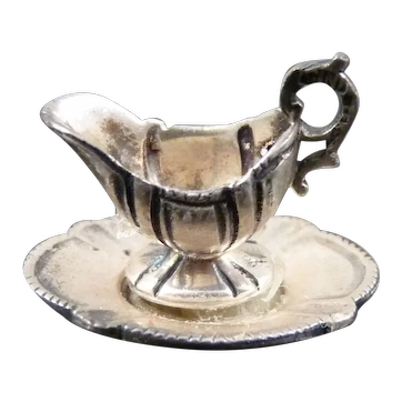 Artist Made GRAVY BOAT CINI Sterling Silver 1:12 Dollhouse Miniature