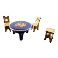Vintage 1:48 1/4 Scale Limoges France CHAIRS & TABLE STOVE Dollhouse Miniature