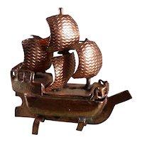 Vintage Tynietoy Copper SHIP MODEL 1:12 Dollhouse Miniature