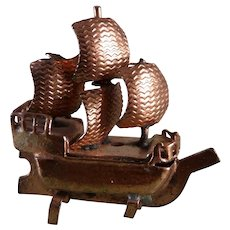 Vintage Tynietoy Copper SHIP MODEL 1:12 Dollhouse Miniature