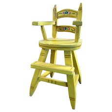 Vintage TYNIETOY Painted Childs High Chair 1:12 Dollhouse Miniature