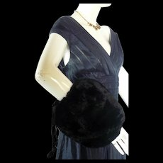 Vintage 1940s1950s REX RABBIT Black Fur Muff Hand Warmer  PURSE