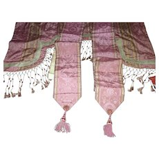 AMAZING 19th C. Antique French Silk Damask Valance & 2 Panels Pelmet Bed Hangings