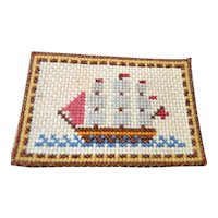 Vintage Artist Made NEEDLEPOINT PICTURE 1:12 Dollhouse Miniature