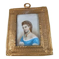 Vintage Artist Made GILDED PICTURE 1:12 Dollhouse Miniature