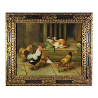 CHARMING Antique Chickens & Rabbits Barn Scene Oil Painting by Edward O Wilson